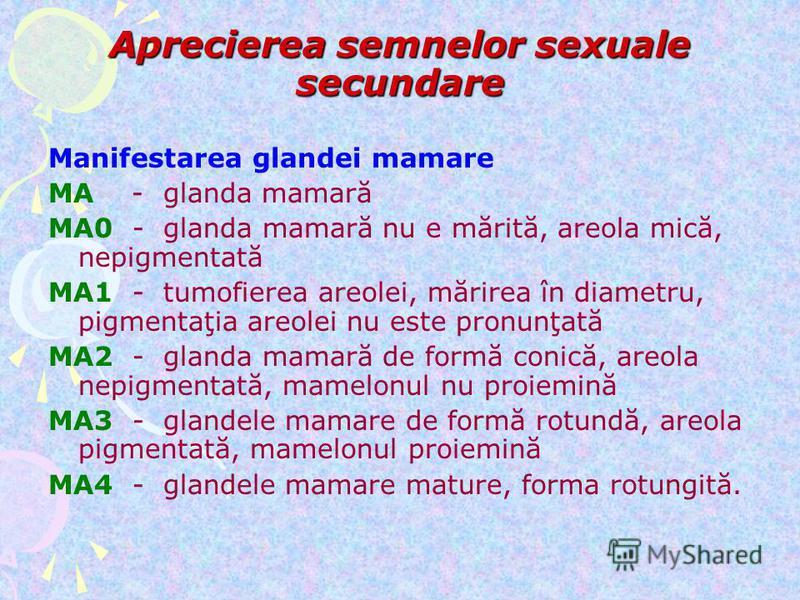Aprecierea semnelor sexuale secundare Manifestarea glandei mamare MA - glanda mamară MA0 - glanda mamară nu e mărită, areola mică, nepigmentată MA1 - tumofierea areolei, mărirea în diametru, pigmentaţia areolei nu este pronunţată MA2 - glanda mamară