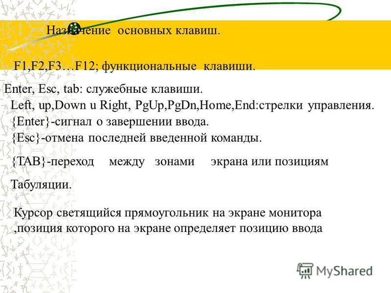 Назначение основных клавиш. F1,F2,F3…F12; функциональные клавиши. Enter, Esc, tab: служебные клавиши. Left, up,Down u Right, PgUp,PgDn,Home,End:стрелки управления. {Enter}-сигнал о завершении ввода. {Esc}-отмена последней введенной команды. {TAB}-пер