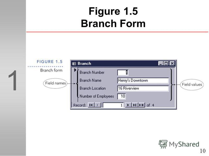 10 1 Figure 1.5 Branch Form