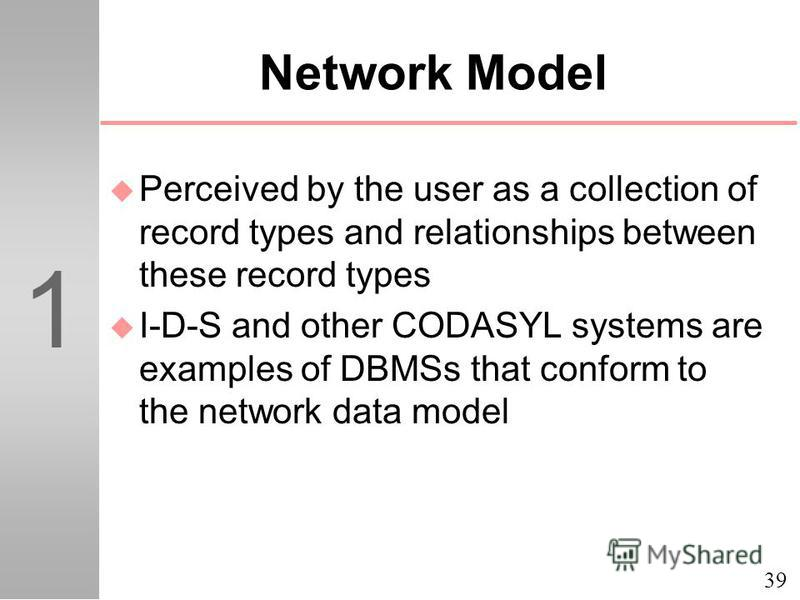 39 1 Network Model u Perceived by the user as a collection of record types and relationships between these record types u I-D-S and other CODASYL systems are examples of DBMSs that conform to the network data model