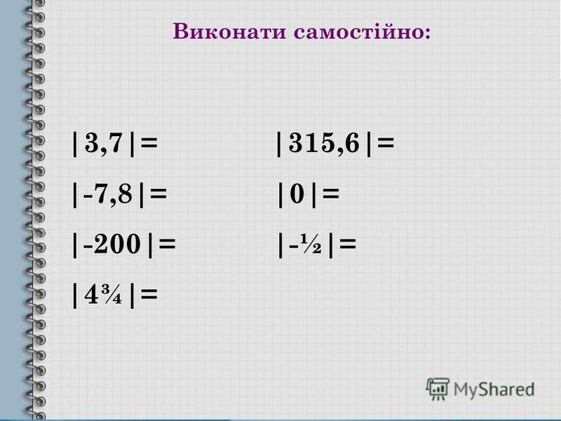 Виконати самостійно: |3,7|= |315,6|= |-7,8|= |0|= |-200|= |-½|= |4¾|=