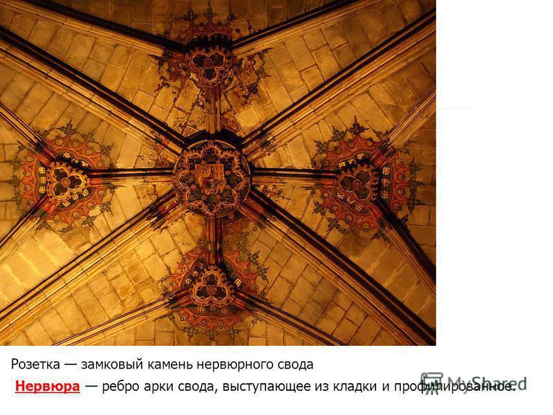 Розетка замковый камень нервюрного свода Нервюра Нервюра ребро арки свода, выступающее из кладки и профилированное.
