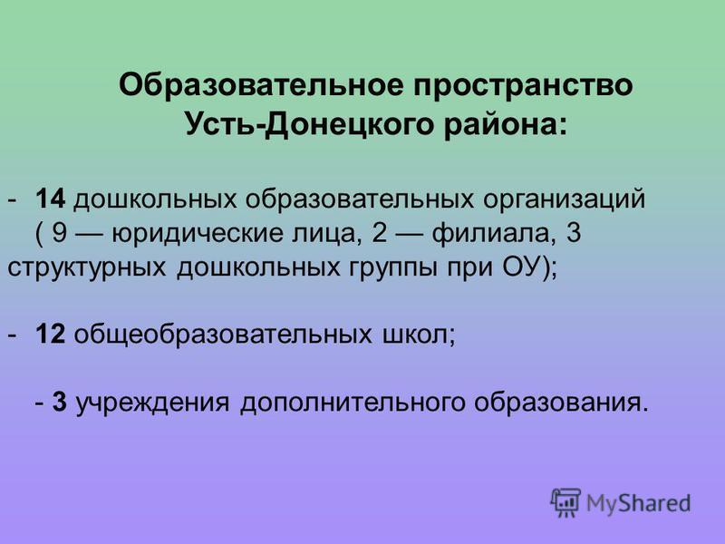 Образовательное пространство Усть-Донецкого района: -14 дошкольных образовательных организаций ( 9 юридические лица, 2 филиала, 3 структурных дошкольных группы при ОУ); -12 общеобразовательных школ; - 3 учреждения дополнительного образования.