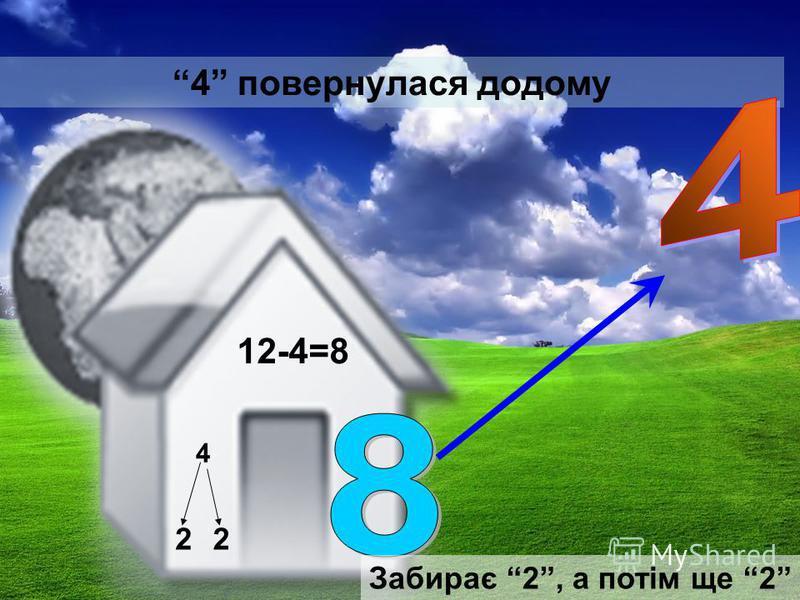 4 повернулася додому 12-4=8 4 22 Забирає 2, а потім ще 2