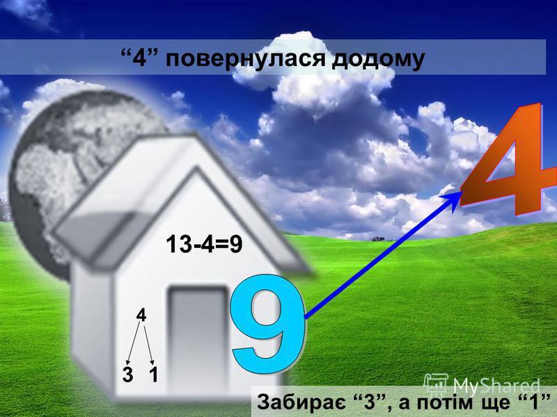 4 повернулася додому 13-4=9 4 31 Забирає 3, а потім ще 1