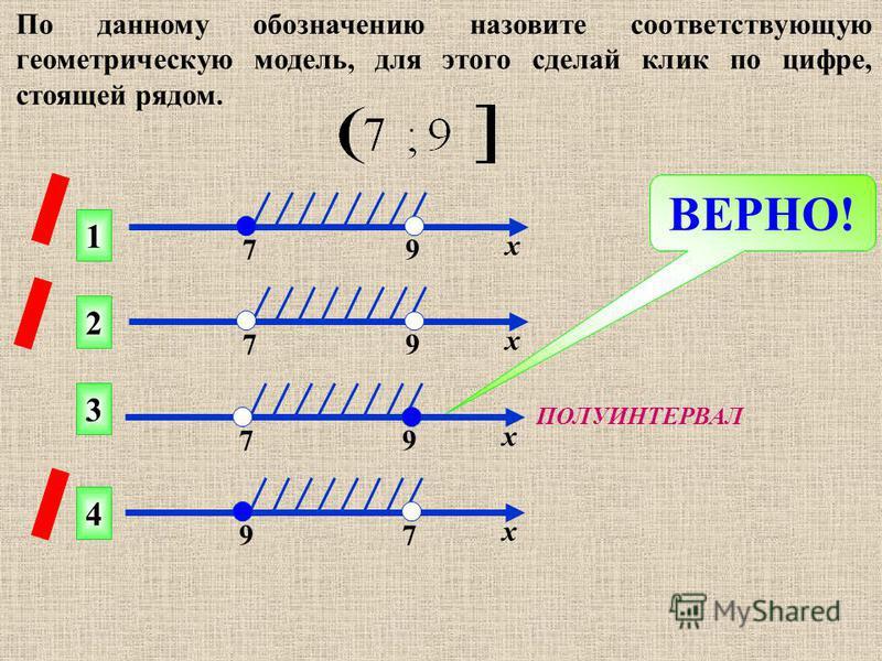 По данному обозначению назовите соответствующую геометрическую модель, для этого сделай клик по цифре, стоящей рядом. ВЕРНО! 1 2 4 3 7 9 х 7 9 х 7 9 х 9 7 х ПОЛУИНТЕРВАЛ