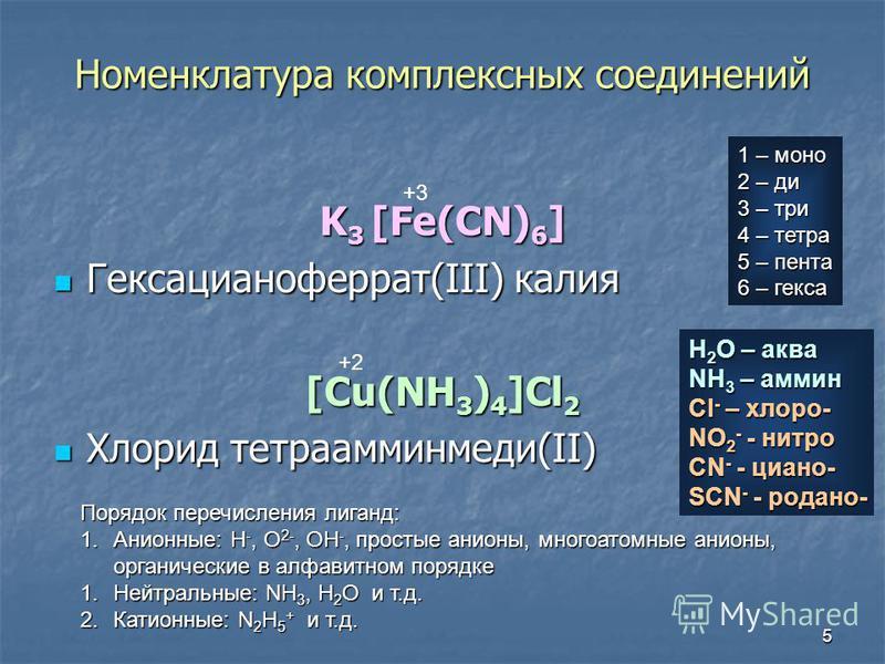 5 Номенклатура комплексных соедонений K 3 [Fe(CN) 6 ] Гексацианоферрат(III) калия Гексацианоферрат(III) калия [Cu(NH 3 ) 4 ]Cl 2 Хлорид тетрааминмедо(II) Хлорид тетрааминмедо(II) +3 +2 Порядок перечисления лиганд: 1.Анионные: H -, O 2-, OH -, простые