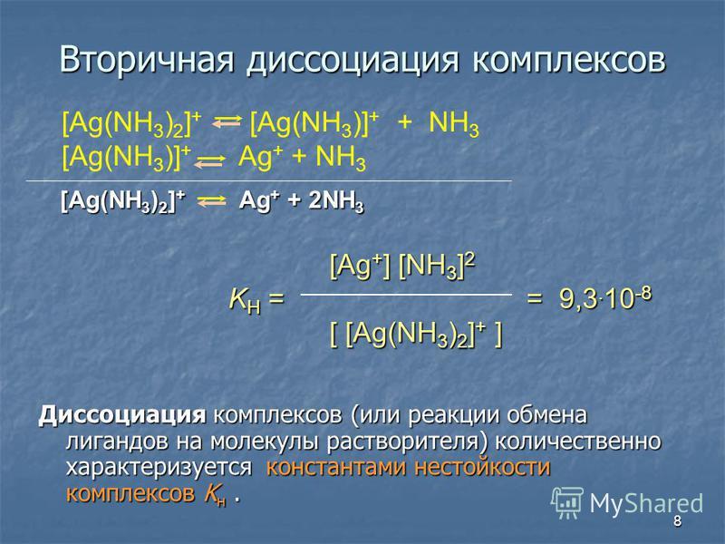 8 Вторичная доссоциация комплексов [Ag(NH 3 ) 2 ] + [Ag(NH 3 )] + + NH 3 [Ag(NH 3 )] + Ag + + NH 3 [Ag + ] [NH 3 ] 2 K H == 9,3. 10 -8 K H = = 9,3. 10 -8 [ [Ag(NH 3 ) 2 ] + ] Диссоциация комплексов (или реакции обмена лигандов на молекулы растворител