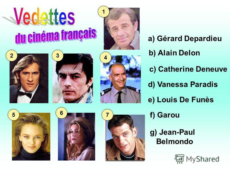a) Gérard Depardieu b) Alain Delon c) Catherine Deneuve d) Vanessa Paradis e) Louis De Funès f) Garou 7 g) Jean-Paul Belmondo 6 5 4 32 1