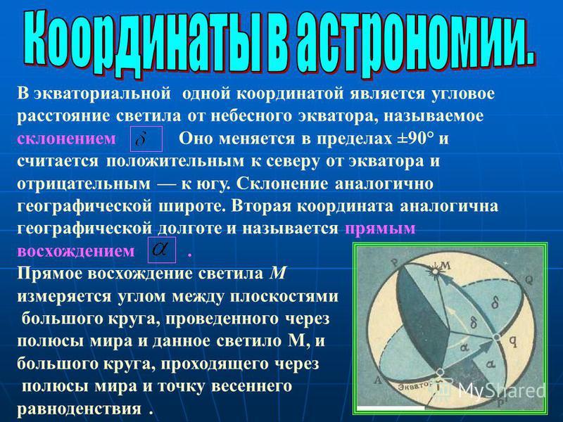 В экваториальной одной координатой является угловое расстояние светила от небесного экватора, называемое склонением Оно меняется в пределах ±90° и считается положительным к северу от экватора и отрицательным к югу. Склонение аналогично географической