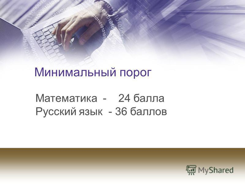 Минимальный порог Математика - 24 балла Русский язык - 36 баллов