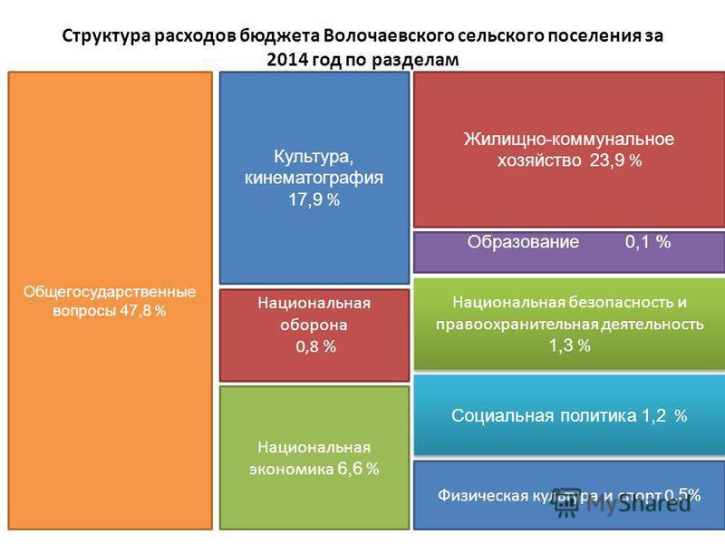 Структура расходов бюджета Волочаевского сельского поселения за 2014 год по разделам Общегосударственные вопросы 47,8 % Культура, кинематография 17,9 % Национальная оборона 0,8 % Национальная экономика 6,6 % Образование 0,1 % Национальная безопасност