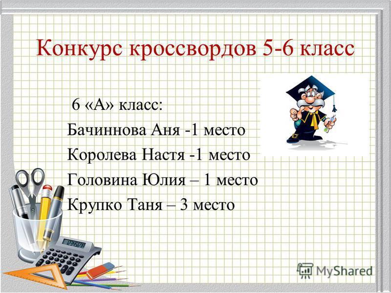 Конкурс кроссвордов 5-6 класс 6 «А» класс: Бачиннова Аня -1 место Королева Настя -1 место Головина Юлия – 1 место Крупко Таня – 3 место