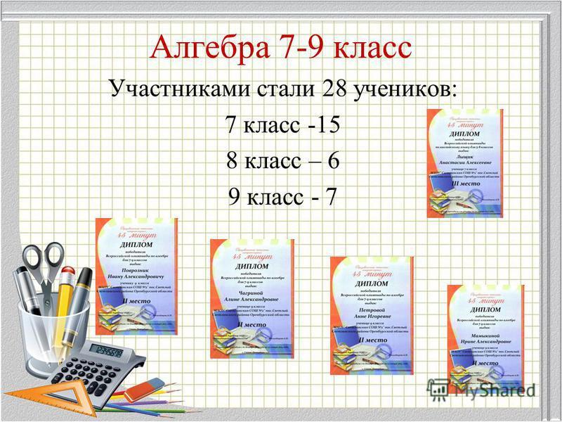 Алгебра 7-9 класс Участниками стали 28 учеников: 7 класс -15 8 класс – 6 9 класс - 7