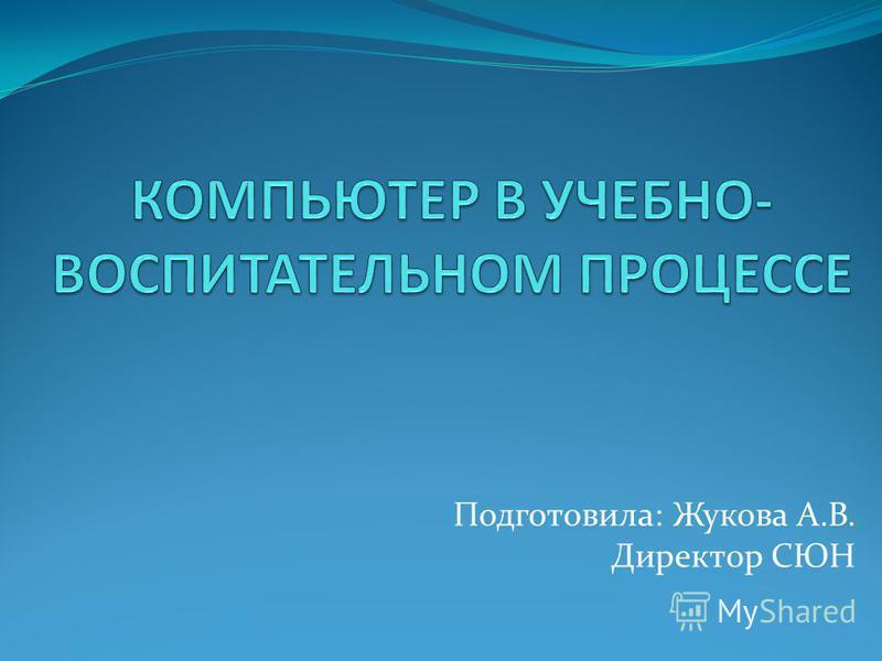 Подготовила: Жукова А.В. Директор СЮН