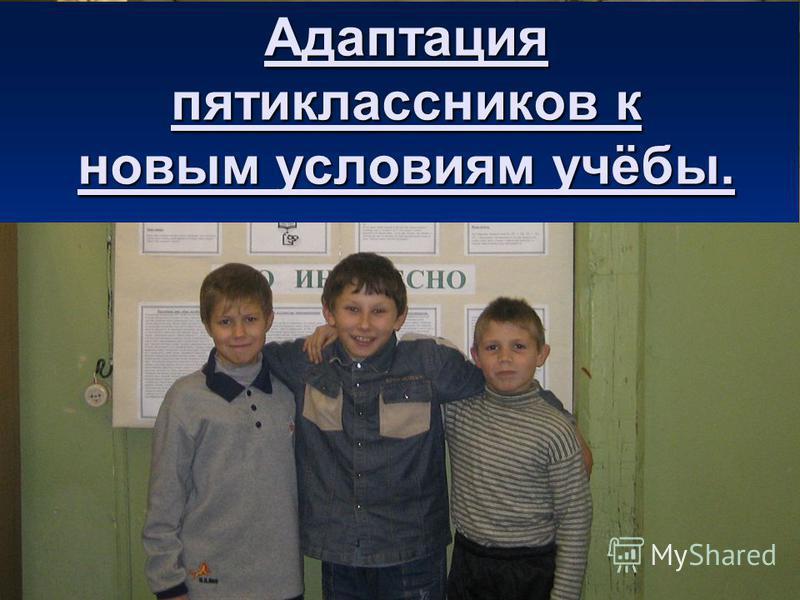 Адаптация пятиклассников к новым условиям учёбы.