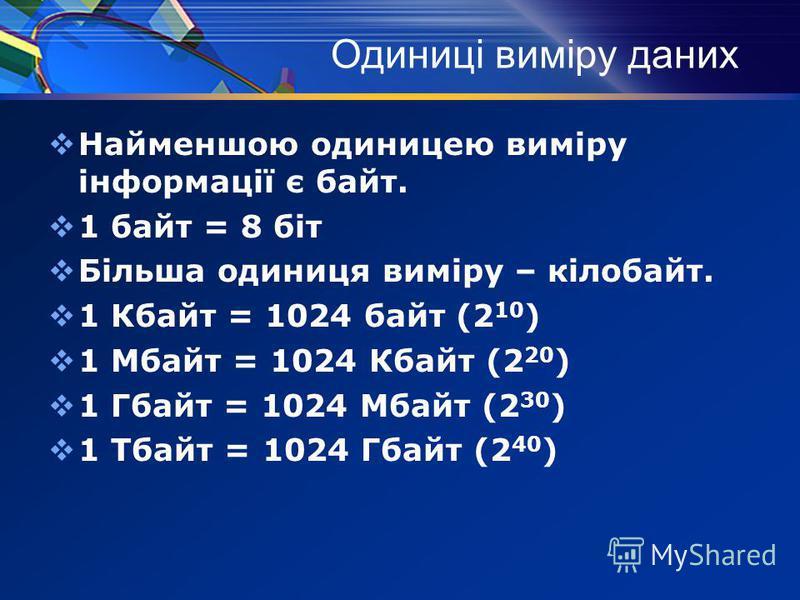 Одиниці виміру даних Найменшою одиницею виміру інформації є байт. 1 байт = 8 біт Більша одиниця виміру – кілобайт. 1 Кбайт = 1024 байт (2 10 ) 1 Мбайт = 1024 Кбайт (2 20 ) 1 Гбайт = 1024 Мбайт (2 30 ) 1 Тбайт = 1024 Гбайт (2 40 )