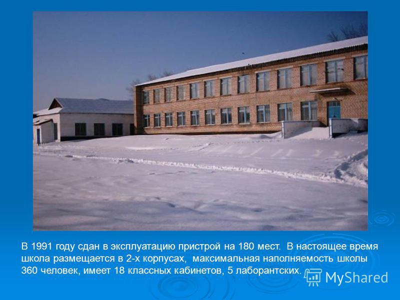 В 1991 году сдан в эксплуатацию пристрой на 180 мест. В настоящее время школа размещается в 2-х корпусах, максимальная наполняемость школы 360 человек, имеет 18 классных кабинетов, 5 лаборантских.