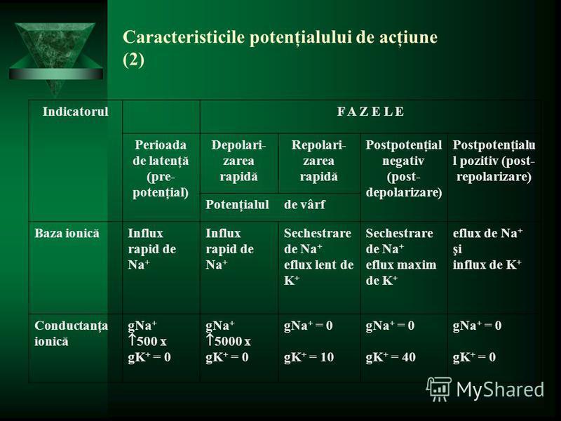 Caracteristicile potenţialului de acţiune (2) IndicatorulF A Z E L E Perioada de latenţă (pre- potenţial) Depolari- zarea rapidă Repolari- zarea rapidă Postpotenţial negativ (post- depolarizare) Postpotenţialu l pozitiv (post- repolarizare) Potenţial