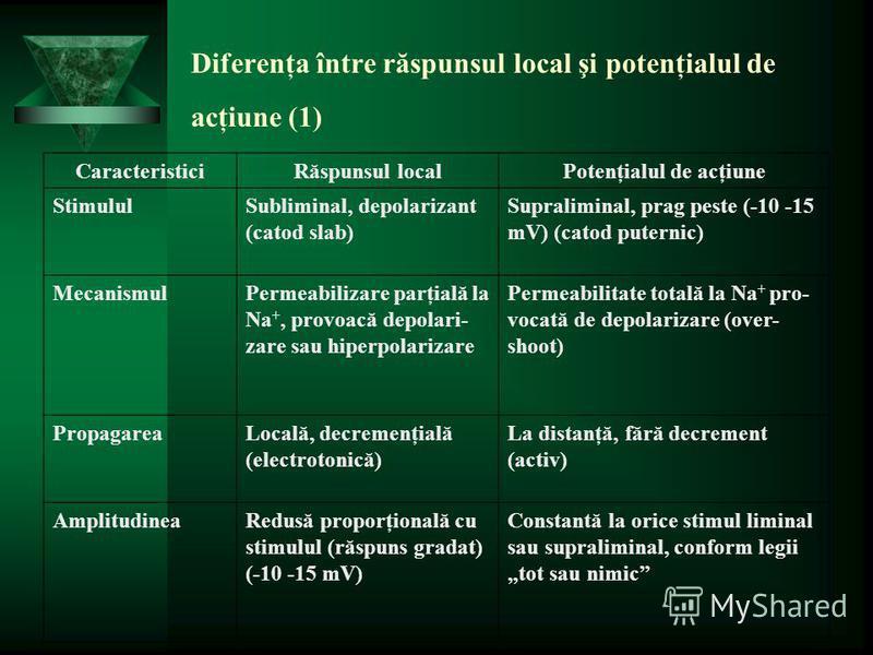 Diferenţa între răspunsul local şi potenţialul de acţiune (1) CaracteristiciRăspunsul localPotenţialul de acţiune StimululSubliminal, depolarizant (catod slab) Supraliminal, prag peste (-10 -15 mV) (catod puternic) MecanismulPermeabilizare parţială l