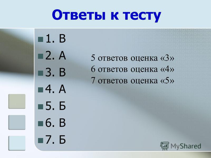 Ответы к тесту 1. В 2. А 3. В 4. А 5. Б 6. В 7. Б 5 ответов оценка «3» 6 ответов оценка «4» 7 ответов оценка «5»