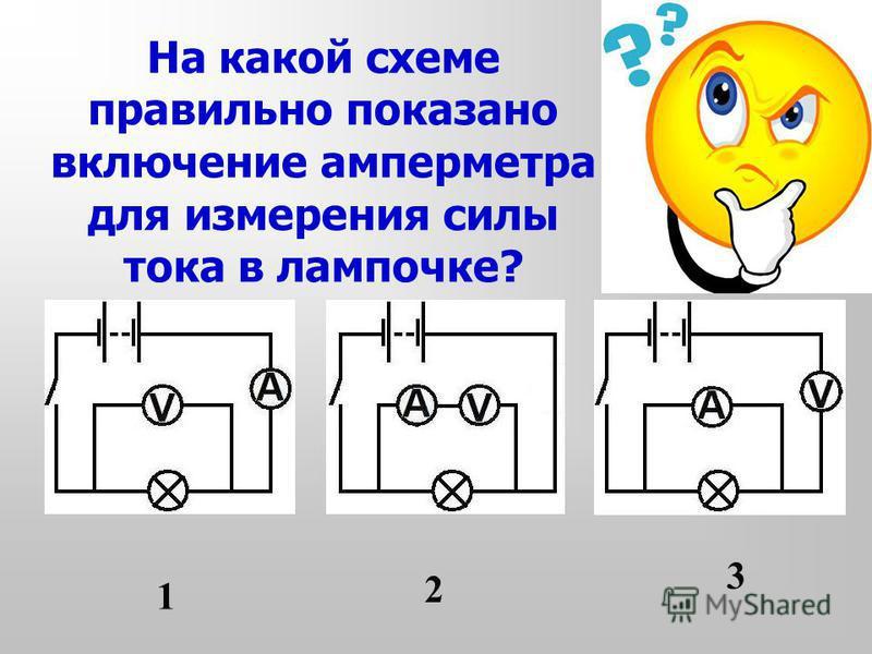 На какой схеме правильно показано включение амперметра для измерения силы тока в лампочке? 1 2 3