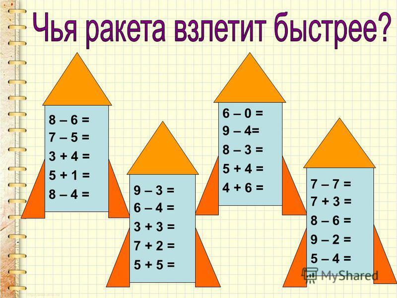 8 – 6 = 7 – 5 = 3 + 4 = 5 + 1 = 8 – 4 = 6 – 0 = 9 – 4= 8 – 3 = 5 + 4 = 4 + 6 = 7 – 7 = 7 + 3 = 8 – 6 = 9 – 2 = 5 – 4 = 9 – 3 = 6 – 4 = 3 + 3 = 7 + 2 = 5 + 5 =