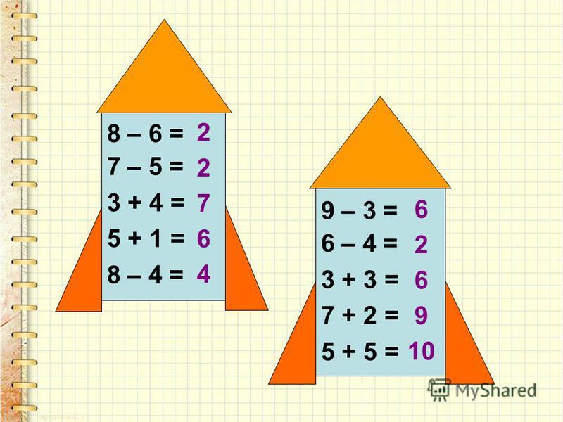 8 – 6 = 7 – 5 = 3 + 4 = 5 + 1 = 8 – 4 = 9 – 3 = 6 – 4 = 3 + 3 = 7 + 2 = 5 + 5 = 2 2 7 6 4 6 2 6 9 10