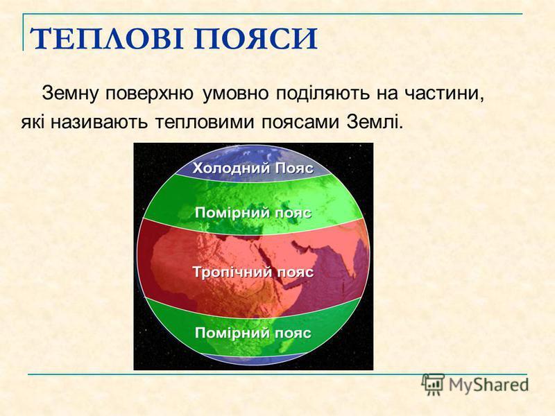 ТЕПЛОВІ ПОЯСИ Земну поверхню умовно поділяють на частини, які називають тепловими поясами Землі.