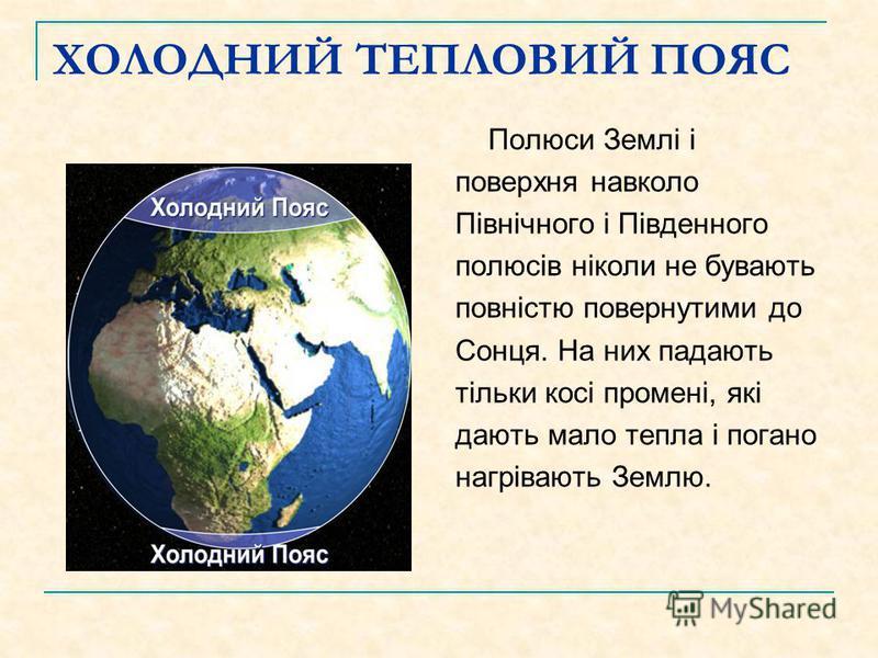 ХОЛОДНИЙ ТЕПЛОВИЙ ПОЯС Полюси Землі і поверхня навколо Північного і Південного полюсів ніколи не бувають повністю повернутими до Сонця. На них падають тільки косі промені, які дають мало тепла і погано нагрівають Землю.