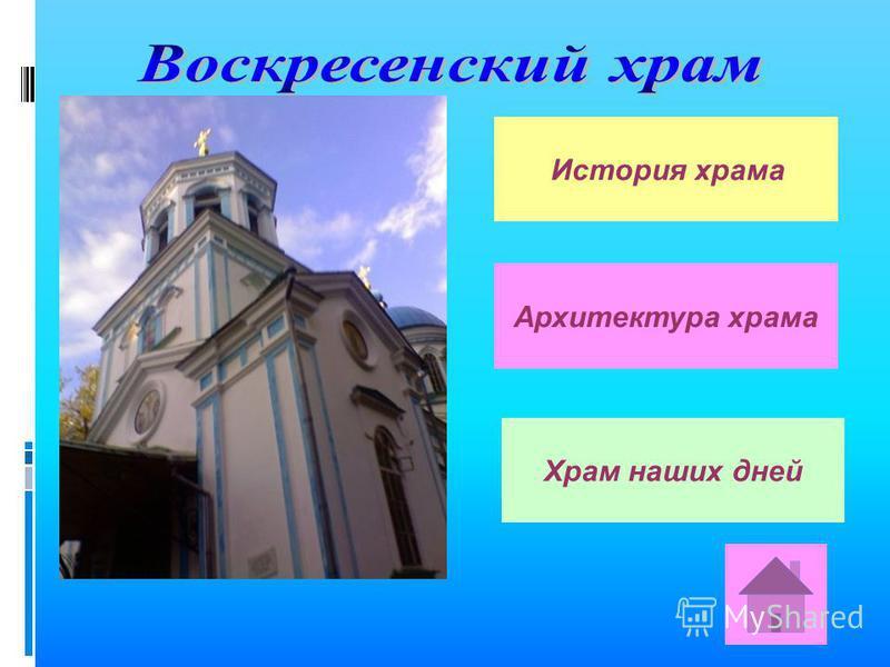История храма Архитектура храма Храм наших дней