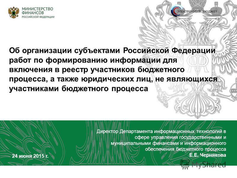 Об организации субъектами Российской Федерации работ по формированию информации для включения в реестр участников бюджетного процесса, а также юридических лиц, не являющихся участниками бюджетного процесса Директор Департамента информационных техноло