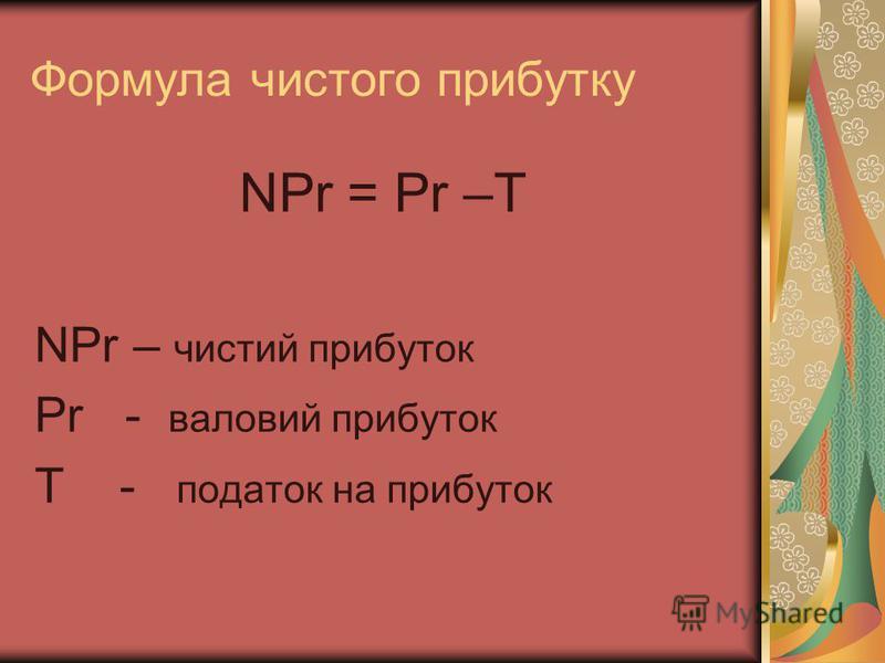 Формула чистого прибутку NPr = Pr –T NPr – чистий прибуток Pr - валовий прибуток T - податок на прибуток