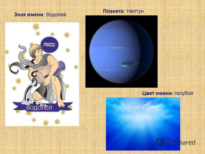 Знак имени: Водолей Планета: Нептун Цвет имени: голубой