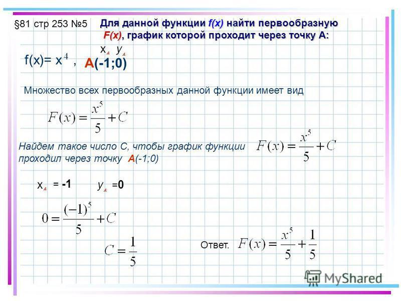 §81 стр 253 5 Для данной функции f(x) найти первообразную F(x), график которой проходит через точку A: F(x), график которой проходит через точку A: f(x)= x, A(-1;0) xy Множество всех первообразных данной функции имеет вид Найдем такое число С, чтобы