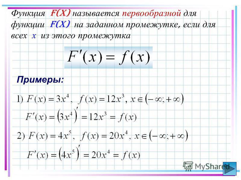 Функция F(x) называется первообразной для функции f(x) на заданном промежутке, если для всех х из этого промежутка Примеры: