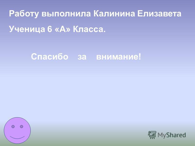 Работу выполнила Калинина Елизавета Ученица 6 «А» Класса. Спасибо за внимание!