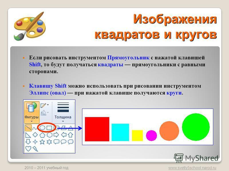 www.svetly5school.narod.ru 2010 – 2011 учебный год Изображения квадратов и кругов Если рисовать инструментом Прямоугольник с нажатой клавишей Shift, то будут получаться квадраты прямоугольники с равными сторонами. Клавишу Shift можно использовать при