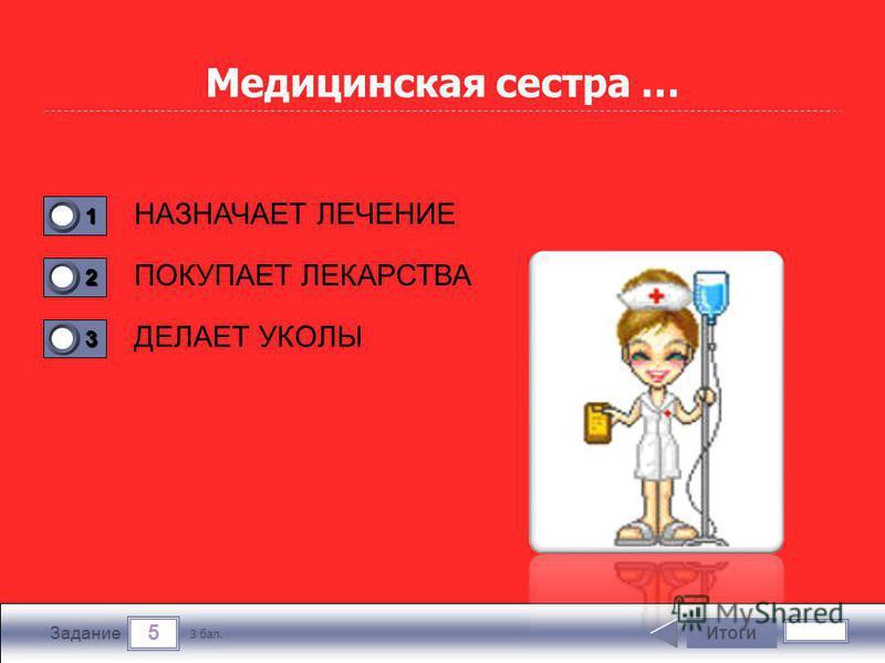 5 Задание Медицинская сестра … НАЗНАЧАЕТ ЛЕЧЕНИЕ ПОКУПАЕТ ЛЕКАРСТВА ДЕЛАЕТ УКОЛЫ Итоги 3 бал. 1111 0 2222 0 3333 0
