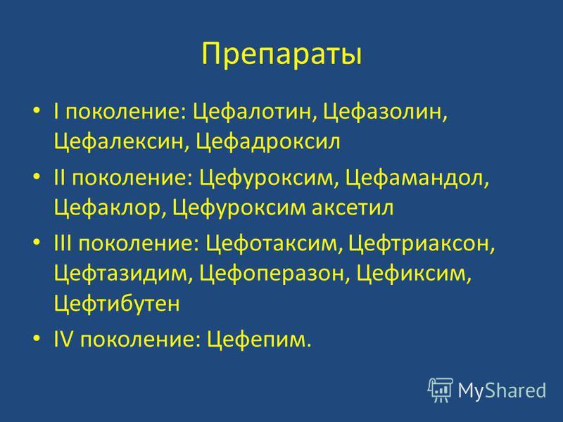 Препараты I поколение: Цефалотин, Цефазолин, Цефалексин, Цефадроксил II поколение: Цефуроксим, Цефамандол, Цефаклор, Цефуроксим аксетил III поколение: Цефотаксим, Цефтриаксон, Цефтазидим, Цефоперазон, Цефиксим, Цефтибутен IV поколение: Цефепим.