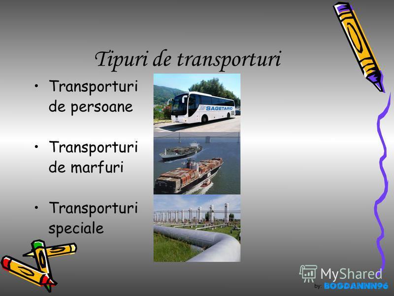 Tipuri de transporturi Transporturi de persoane Transporturi de marfuri Transporturi speciale