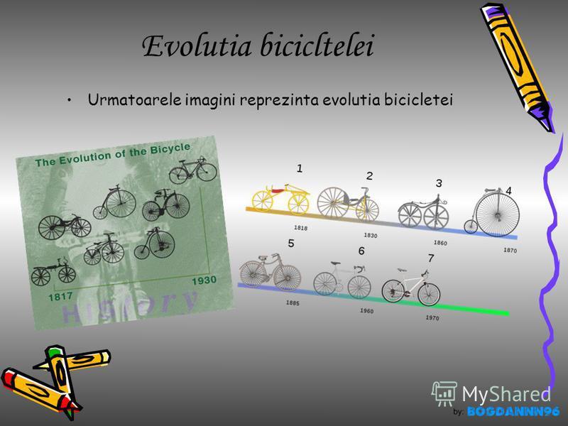Evolutia bicicltelei Urmatoarele imagini reprezinta evolutia bicicletei