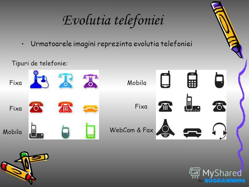 Evolutia telefoniei Urmatoarele imagini reprezinta evolutia telefoniei Tipuri de telefonie: Fixa Mobila Fixa WebCam & Fax