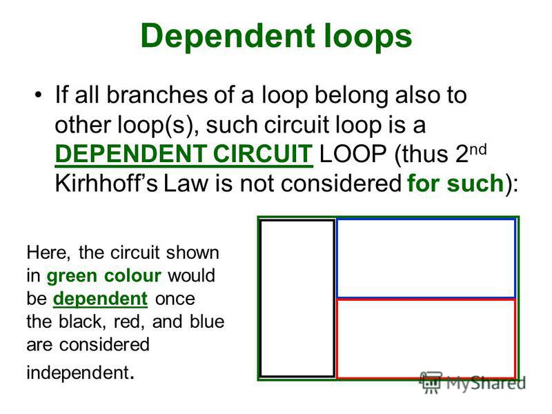 Dependent loops If all branches of a loop belong also to other loop(s), such circuit loop is a DEPENDENT CIRCUIT LOOP (thus 2 nd Kirhhoffs Law is not considered for such): Here, the circuit shown in green colour would be dependent once the black, red