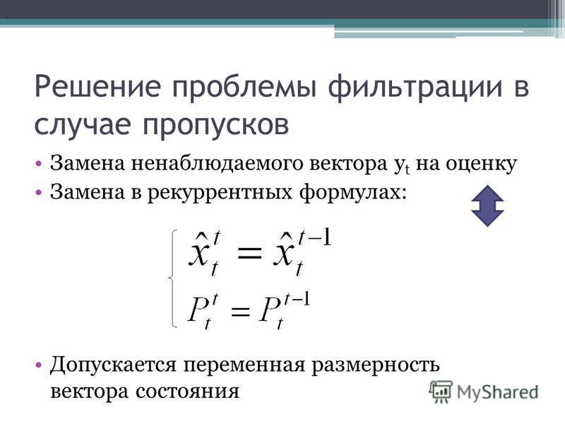 Решение проблемы фильтрации в случае пропусков Замена ненаблюдаемого вектора y t на оценку Замена в рекуррентных формулах: Допускается переменная размерность вектора состояния,
