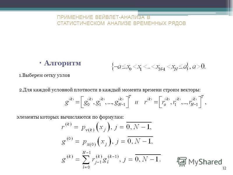 Алгоритм 1. Выберем сетку узлов 2. Для каждой условной плотности в каждый момента времени строим векторы: элементы которых вычисляются по формулам: ПРИМЕНЕНИЕ ВЕЙВЛЕТ-АНАЛИЗА В СТАТИСТИЧЕСКОМ АНАЛИЗЕ ВРЕМЕННЫХ РЯДОВ