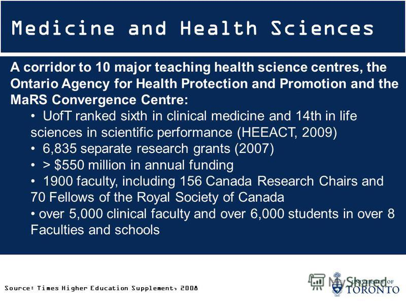 Medicine and Health Sciences A corridor to 10 major teaching health science centres, the Ontario Agency for Health Protection and Promotion and the MaRS Convergence Centre: UofT ranked sixth in clinical medicine and 14th in life sciences in scientifi