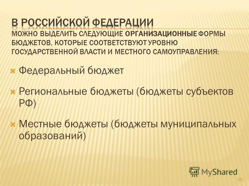 Федеральный бюджет Региональные бюджеты (бюджеты субъектов РФ) Местные бюджеты (бюджеты муниципальных образований) 46