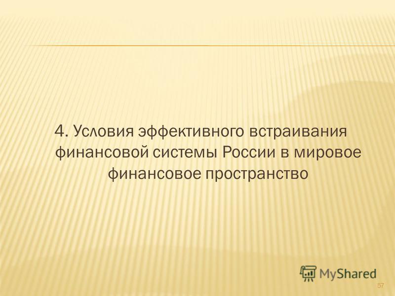4. Условия эффективного встраивания финансовой системы России в мировое финансовое пространство 57