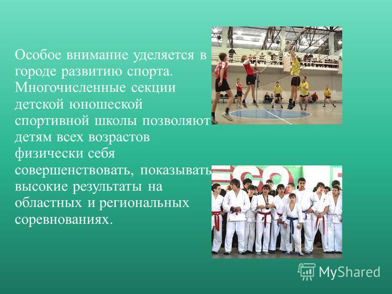 Особое внимание уделяется в городе развитию спорта. Многочисленные секции детской юношеской спортивной школы позволяют детям всех возрастов физически себя совершенствовать, показывать высокие результаты на областных и региональных соревнованиях.
